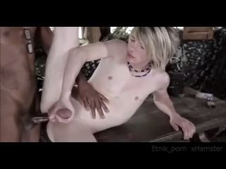 Slim Blond Boy on Black Cock
