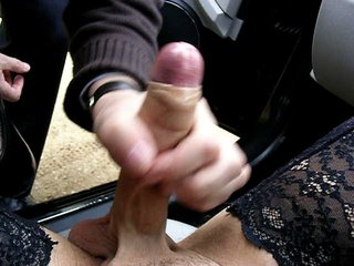 Crossdresser being wanked and sucked