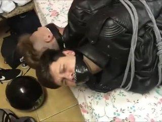 Full Leather Biker Twinks Wresteling and Bondage Gagged