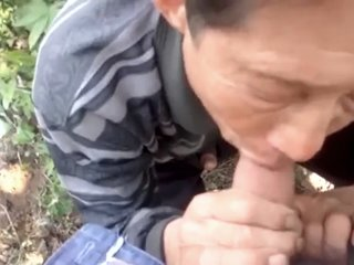Chinese grandpa suck clean