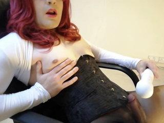 Crossdresser tease, no hands vibe cum through pantyhose