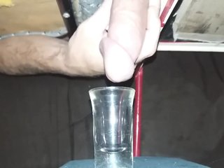 Milking A Weeks Worth Of Cum Into A Shotglass, Huge Load!