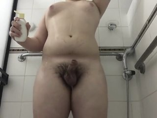 Chubby Teen washes Cock and Asshole
