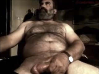 Hairy daddy mushroom head cock wank and cum