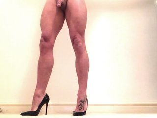 Bare legs high heels .