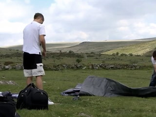 2 English lads jacking and sucking in camp tent 1