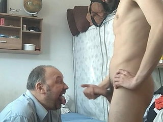 FAGGOT DADDY BEGS NOT SON FOR CUM, THEN SWALLOWS