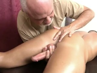Grandpa makes hot young jock shoot over his own face