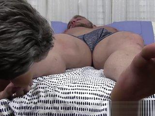 Sleeping jock got his toes sucked by a homosexual pervert