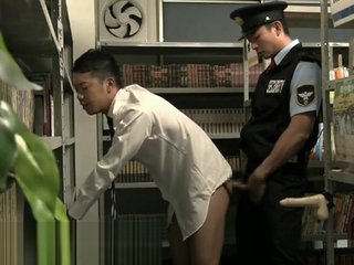 Gay Asian Japanese sex in the Library with security,dildo masturbation