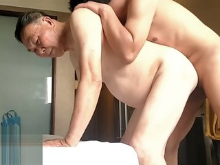 china young son's bisexual fun with old daddy couple