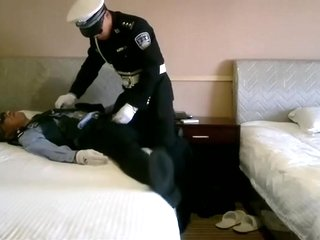 Strong Chinese Police Officers Play with Suit (Little Master & Slave)