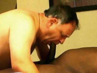 Nice chubby daddy sucks cock gets fucked by hunk black boy