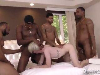4 huge black men on a innocent blond