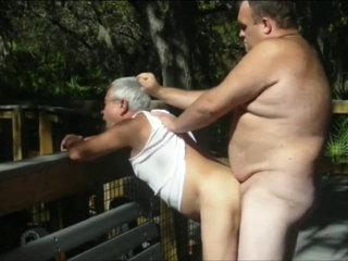 Outdoors scenes where grandpa sucks & gets fucked by chubby