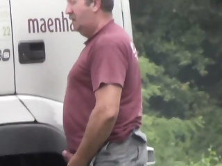 Trucker Caught Jerking Off At Truckstop