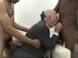 Two black fuck a white grandpa
