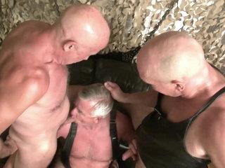Three grandpas fucking together
