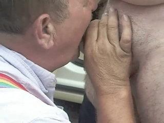 Stonewall96 sexy mustache grandpa sucks cock at the park