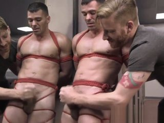 Police stud dominated and edged by hunk
