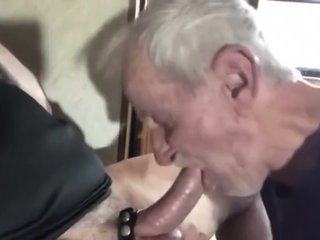 Grandpa sucking cock & licking balls