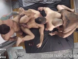 4 horny hunks fucking at home