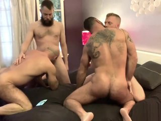 Inked MuscleBros 4Some Breeding Pt#1