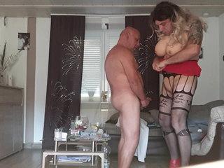 German Amateur Sissy blow and fuck crossdresser sex