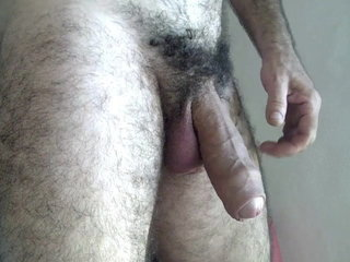 Hairy daddy having fun while wife away