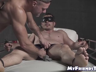 Restrained And Blindfolded Hunk Endures Tickling Torment