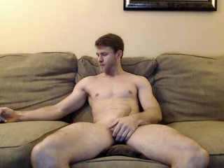 Handsome Guy Jerking His Big White Cock and Rides A Big Dildo