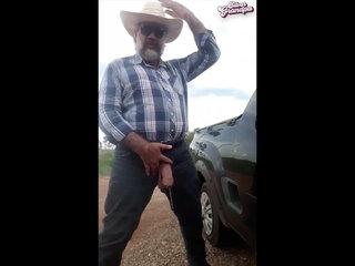 Bull's balls and uncut cock grandpa