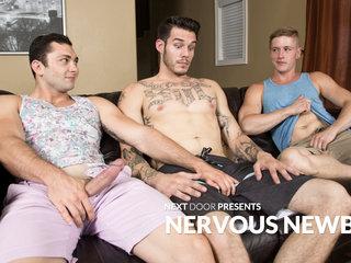 Johnny Riley & Chris Blades & TJ Lee in Nervous Newbies - NextDoorBuddies