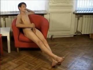 Fabulous male in incredible handjob, solo gay sex movie