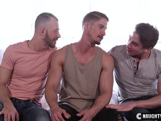 Big dick gay threesome with facial