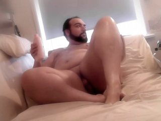 Bear Baby Lotions Entire Chubby Body on Webcam
